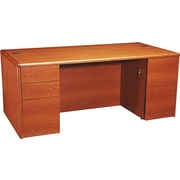 HON® 10700 Series Full-Height Double Pedestal Desk, Henna Cherry