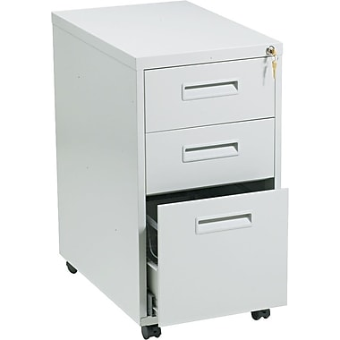 basyx™ Vertical Mobile File Cabinet, 22in. 3-Drawer, Letter Size, Light Gray