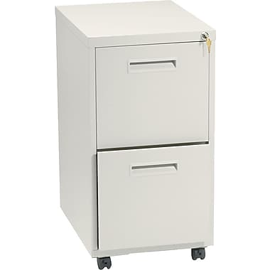 basyx™ Vertical Mobile File Cabinet, 22in. 2-Drawer, Letter Size, Putty