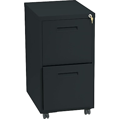 basyx™ Vertical Mobile File Cabinet, 22in. 2-Drawer, Letter Size, Black