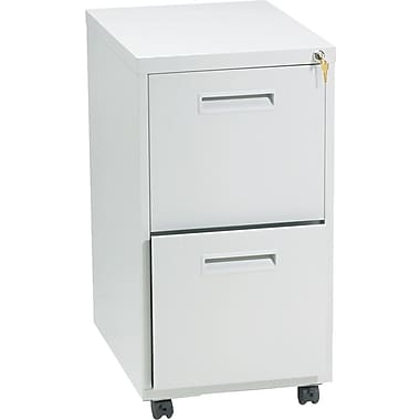 basyx™ Vertical Mobile File Cabinet, 22in. 2-Drawer, Letter Size, Light Gray