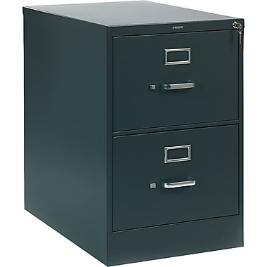 HON 310 Series Vertical File Cabinet, 26 1/2in. 2-Drawer, Legal Size, Charcoal