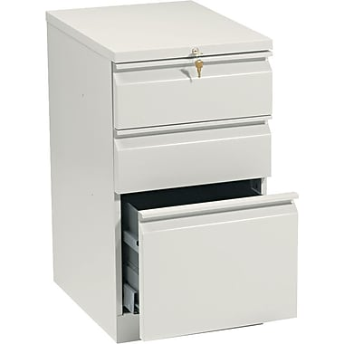 HON Brigade™Series Vertical Mobile File Cabinet with in.Rin. Pull, 20in. 3 Drawer, Letter Size, Putty