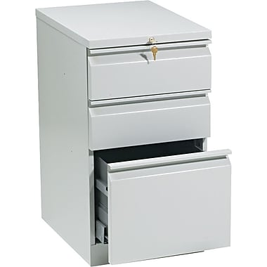 HON Brigade™Series Vertical Mobile File Cabinet with in.Rin. Pull, 20in. 3 Drawer, Letter Size, Light Gray