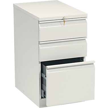 HON Brigade™Series Vertical Mobile File Cabinet with in.Rin. Pull, 23in. 3 Drawer, Letter Size, Putty