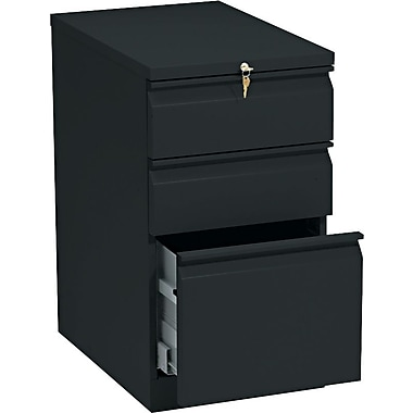 HON Brigade™Series Vertical Mobile File Cabinet with in.Rin. Pull, 23in. 3 Drawer, Letter Size, Black