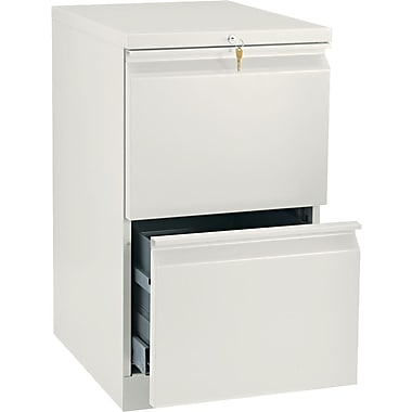 HON Brigade™Series Vertical Mobile File Cabinet with in.Rin. Pull, 20in. 2 Drawer, Letter Size, Putty
