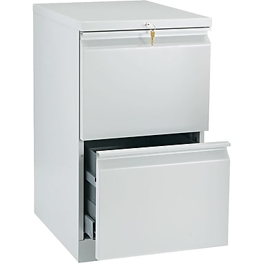 HON Brigade™Series Vertical Mobile File Cabinet with in.Rin. Pull, 20in. 2 Drawer, Letter Size, Light Gray