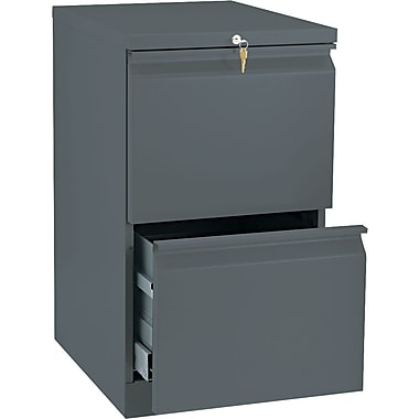 HON Brigade™Series Vertical Mobile File Cabinet with in.Rin. Pull, 20in. 2 Drawer, Letter Size, Charcoal