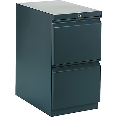 HON Brigade™Series Vertical Mobile File Cabinet with in.Rin. Pull, 23in. 2 Drawer, Letter Size, Charcoal