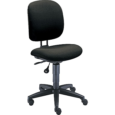 HON ComforTask Computer Chair for Office and Computer Desks, Armless, Black Fabric