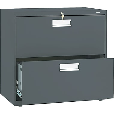 HON 600 Series Lateral File Cabinet, 30in. Wide, 2-Drawer, Charcoal