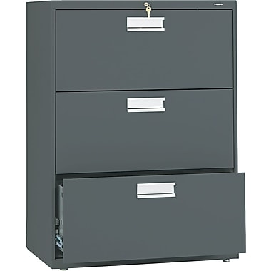 HON 600 Series Lateral File Cabinet, 30in. Wide, 3-Drawer, Charcoal