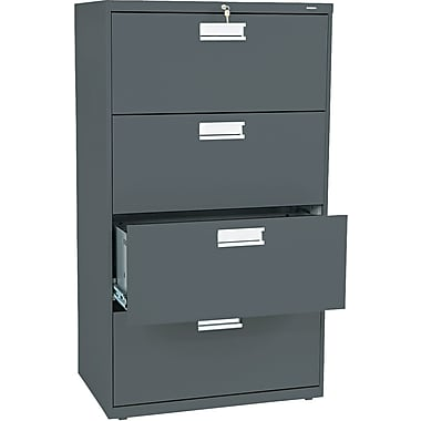 HON 600 Series Lateral File Cabinet, 30in. Wide, 4-Drawer, Charcoal