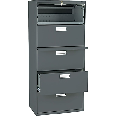 HON 600 Series Lateral File Cabinet, 30in. Wide, 5-Drawer, Charcoal