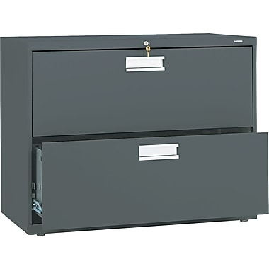 HON® Brigade™ 600 Series Lateral File Cabinet, 36in. Wide, 2-Drawer, Charcoal