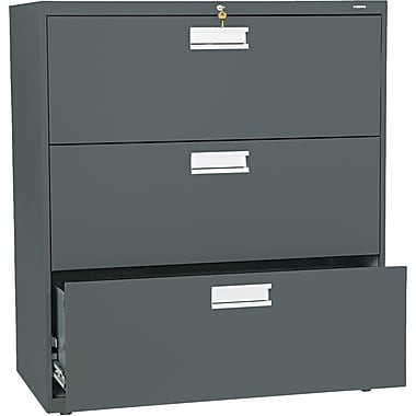 HON Brigade 600 Series 3 Drawer Lateral File, Charcoal,Letter/Legal, 36''W (H683LS)
