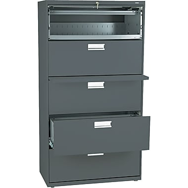 HON® Brigade 600 Series Lateral File Cabinet, 36in. Wide, 5-Drawer, Charcoal