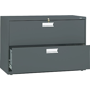 HON® Brigade™ 600 Series Lateral File Cabinet, 42in. Wide, 2-Drawer, Charcoal