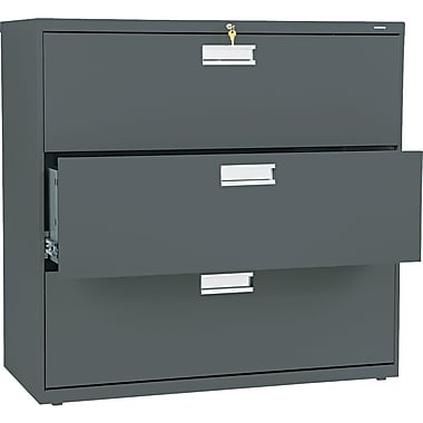 HON® Brigade™ 600 Series Lateral File Cabinet, 42in. Wide, 3-Drawer, Charcoal