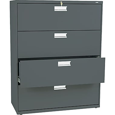 HON Brigade 600 Series Lateral File Cabinet, 42in. Wide, 4-Drawer, Charcoal