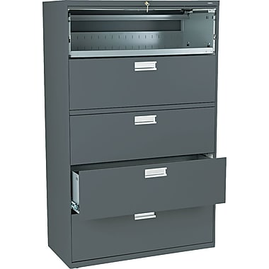 HON Brigade 600 Series Lateral File Cabinet, 42in. Wide, 5-Drawer, Charcoal
