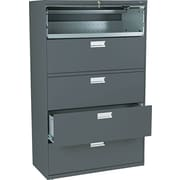 HON® Brigade™ 600 Series Lateral File Cabinet, 42 Wide, 5-Drawer, Charcoal