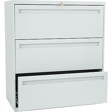HON Brigade 700 Series Lateral File Cabinet, 36in. Wide, 3-Drawer, Light Gray