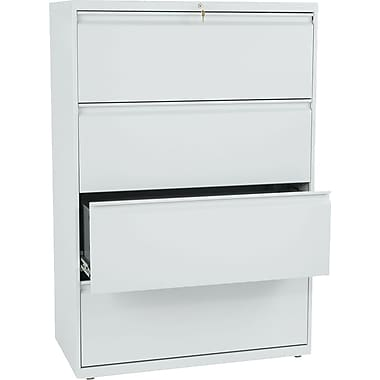 HON® Brigade 800 Series Lateral File Cabinet, 36in. Wide, 4-Drawer, Light Gray