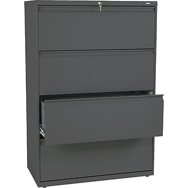 HON® Brigade 800 Series Lateral File Cabinet, 36in. Wide, 4-Drawer, Charcoal