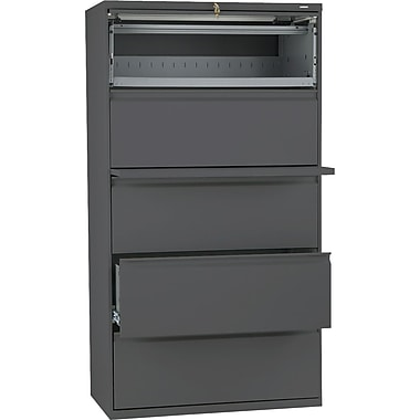 HON® Brigade 800 Series Lateral File Cabinet, 36in. Wide, 5-Drawer, Charcoal