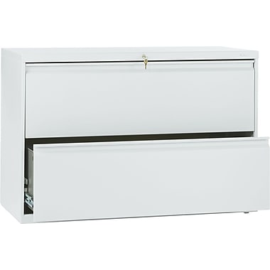 HON Brigade 800 Series Lateral File Cabinet, 42in. Wide, 2-Drawer, Light Gray