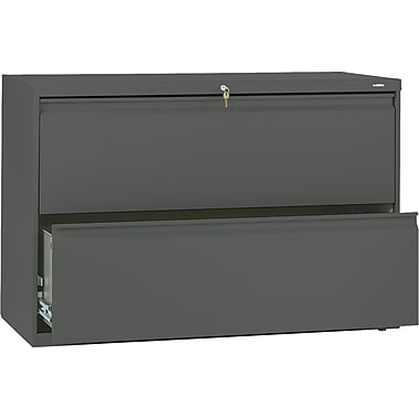 HON Brigade 800 Series Lateral File Cabinet, 42in. Wide, 2-Drawer, Charcoal