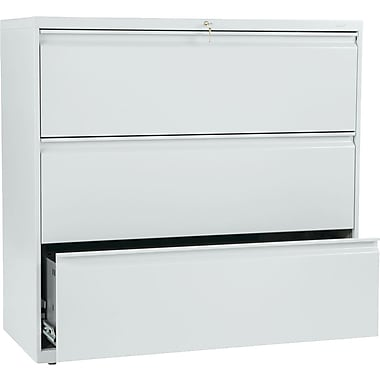 HON Brigade 800 Series Lateral File Cabinet, 42in. Wide, 3-Drawer, Light Gray