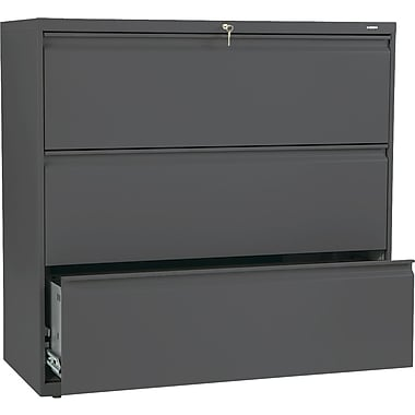 HON Brigade 800 Series Lateral File Cabinet, 42in. Wide, 3-Drawer, Charcoal