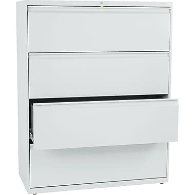HON® Brigade 800 Series Lateral File Cabinet, 42in. Wide, 4-Drawer, Light Gray