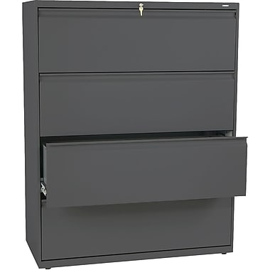 HON® Brigade 800 Series Lateral File Cabinet, 42in. Wide, 4-Drawer, Charcoal