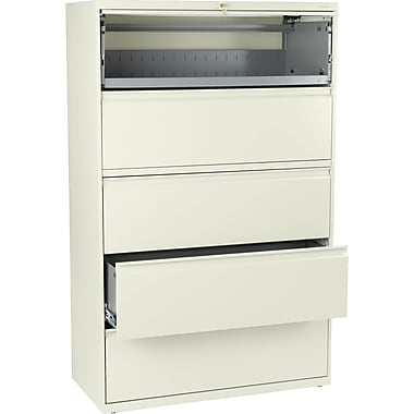HON® Brigade 800 Series Lateral File Cabinet, 42in. Wide, 5-Drawer, Putty
