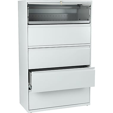 HON® Brigade 800 Series Lateral File Cabinet, 42in. Wide, 5-Drawer, Light Gray