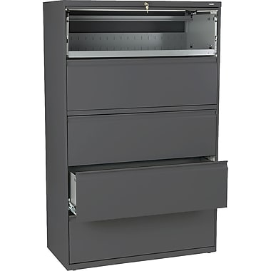 HON® Brigade 800 Series Lateral File Cabinet, 42in. Wide, 5-Drawer, Charcoal