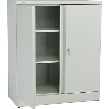 basyx™ by HON Easy-to-Assemble 42in. High, 3- Shelf Storage Cabinet, Light Gray