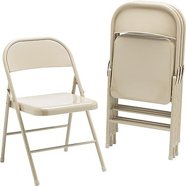HON HFC01 Steel Folding Chair, 4-Pack, Light Beige