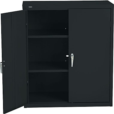 HON® Brigade, 3-Shelf Assembled Storage Cabinets, 42in.H x 36in.W x 18in.D, Black