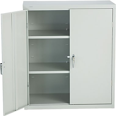 HON® Brigade, 3-Shelf Assembled Storage Cabinets, 42in.H x 36in.W x 18in.D, Light Gray