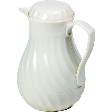 Hormel Poly Lined White Swirl Design Carafe, 64 oz.