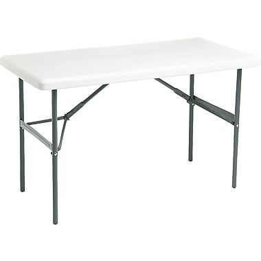 Iceberg 4' Heavy-Duty Commercial-Grade Resin Folding Banquet Table, Platinum Granite