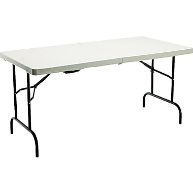 Iceberg 5' Fold-in-Half Resin Banquet Table, Platinum Granite