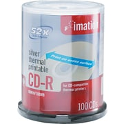 Imation Thermal Printable 52x CD-R Spindle, 700MB, 80-Minute, Silver, 100/Pk