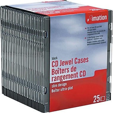 Imation Slim Line Jewel Cases, 25/Pack