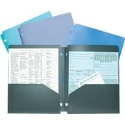 Wilson Jones® Snapper™ Twin Pocket Poly Folder, 3-Hole Punched, Assorted Colors